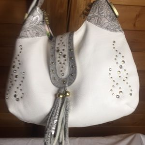 Charm and Luck Bags - Charm and Luck white leather rhinestone purse 👜